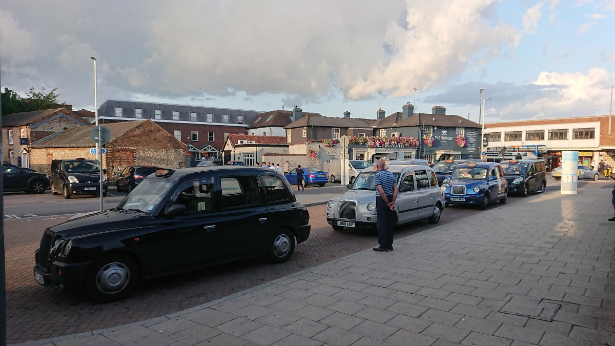 Taxi rank in Chichester, West Sussex